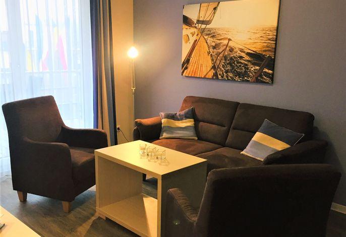 Apartmenthaus Hafenspitze Ap. 17, Blickrichtung Innenstadt/Binnenhafen