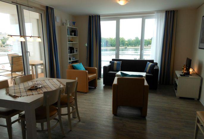Apartmenthaus Hafenspitze  Ap. 20, Blickrichtung Binnenhafen West/Innenstadt
