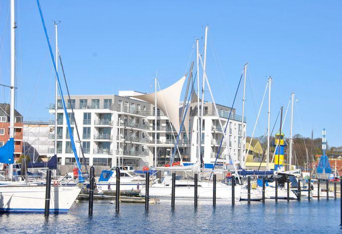 Apartmenthaus Hafenspitze  Ap. 28, Blickrichtung Innenstadt/Binnenhafen