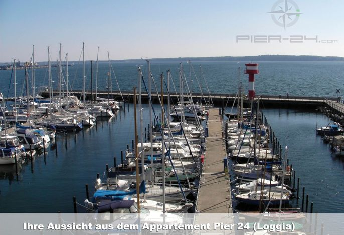 Apartmenthaus Hafenspitze Ap. 24, Pier 24, Blickrichtung offene See/Binnenhafen Nord