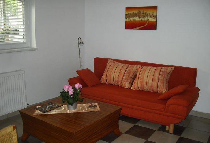 Wohnraum mit TV und Küchenzeile