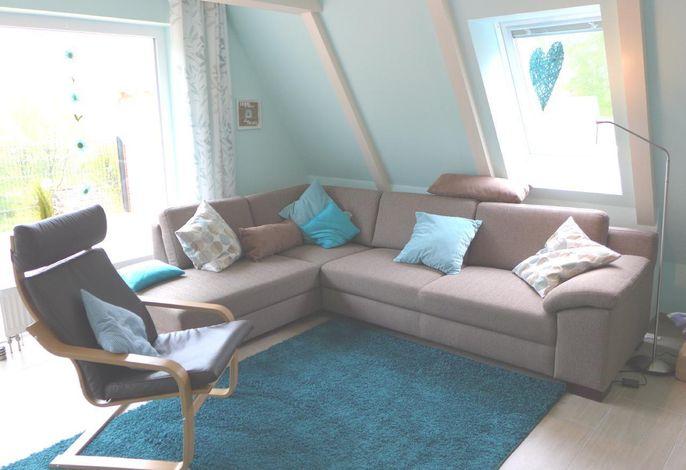 Wohnzimmer mit moderner Eckgarnitur -ausziehbar-