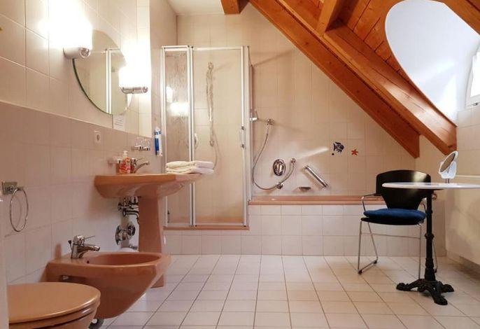 Badezimmer mit Tageslicht, Bidet, Dusche und Badewanne