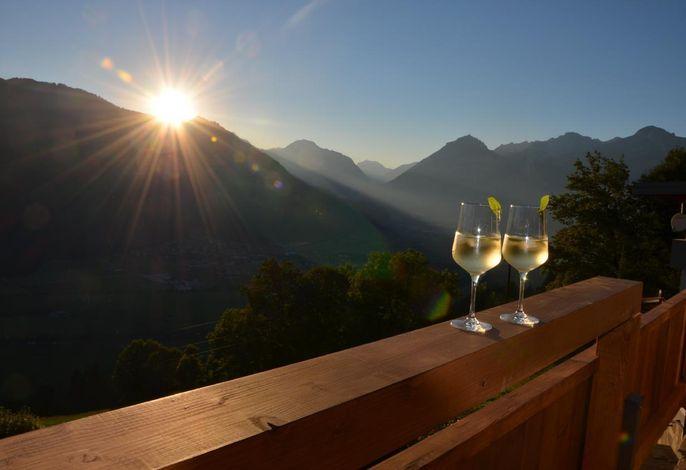 Aussicht am Abend vom Balkon