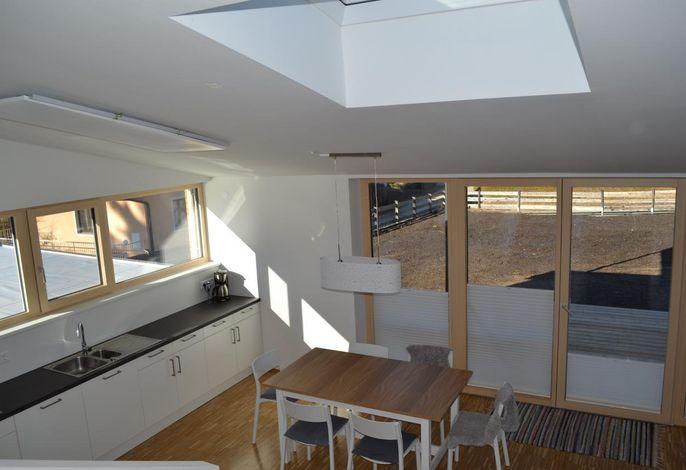 Großes Wohnzimmer und Küche mit Esstisch