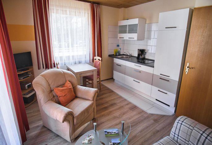 Wohnbereich. Wohnzimmer mit Küchenzeile