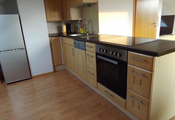 Moderne Küchenzeile mit Backofen, Geschirrspüler und Kühl- Gefrierkombination
