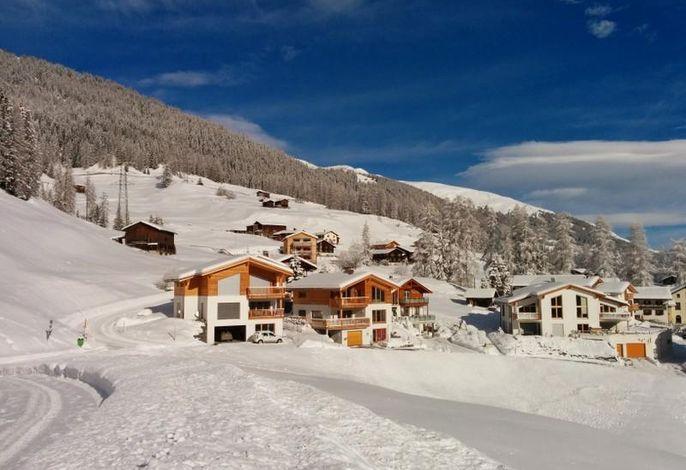 Das Chalet-Davos liegt in einer kleinen Gruppe von Chalets am Ortsrand von Davos-Glaris.