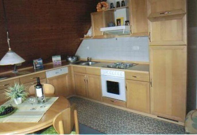 Küchenzeile mit Geschirrspüler, Microwelle, Kühl-Gefrierkombi, ###br###Herd mit Backofen, TV, Radio