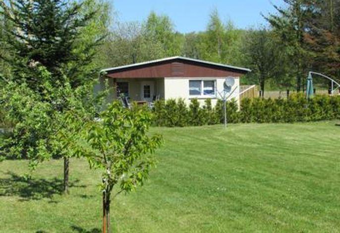 Blick auf das Ferienhaus mit Garten
