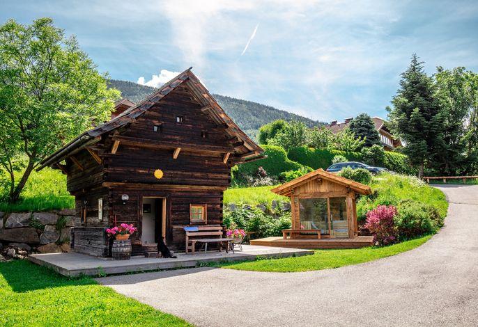 Hütte mit Panorama-Gartensauna