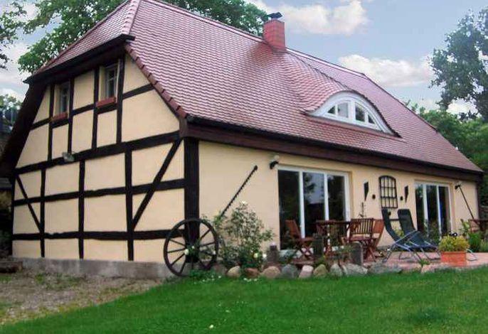 Ferienhaus mit Kaminofen, Terrasse und Blick in die Natur