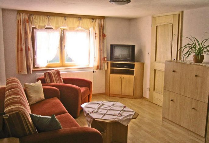 Wohn-/ Schlafzimmer mit Couch und TV-Ecke