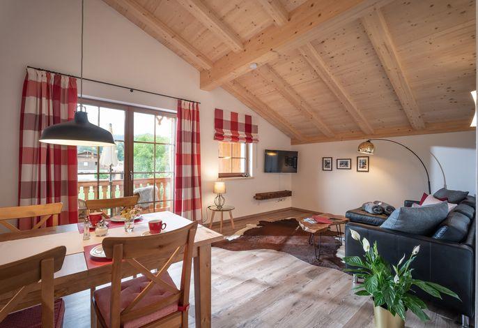 Wohnbereich in der Ferienwohnung Wildbarren