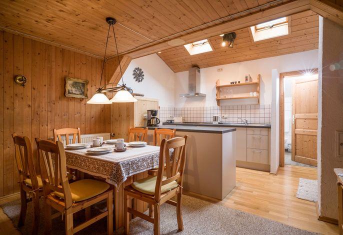 Wohnküche in der Ferienwohnung Auerbach
