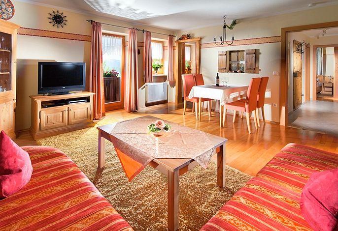 Wohnzimmer mit TV, Balkon und Bergblick