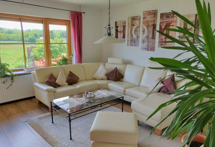 Wohnzimmer mit Blick in die Alpenkette