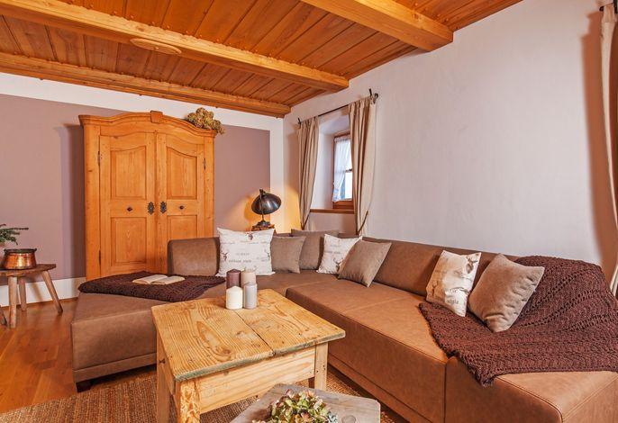 die große Couch im Stüberl.... für spannende Abende