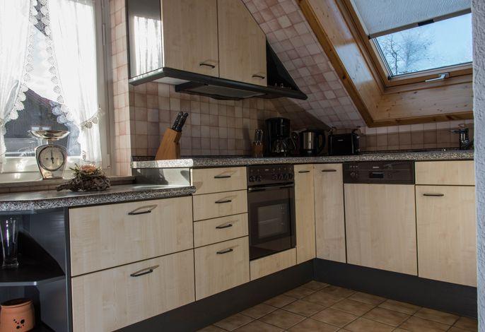 Küche mit Spülmaschine, Glaskeramikkochfeld, Backofen und Kühl-Gefrierkombi + Schwedenofen