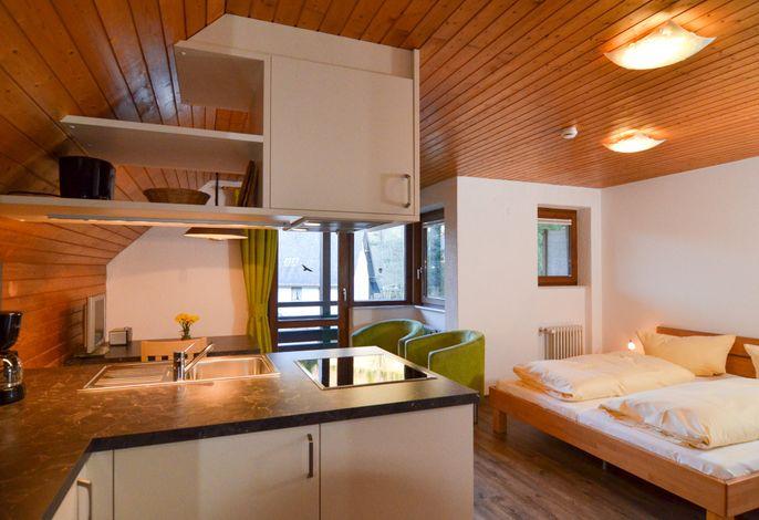 Wohnraum mit Doppelbett und Küchenzeile
