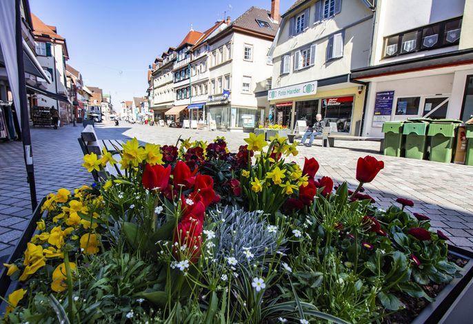 Innenstadt mit Geschäften und schönen Blumen