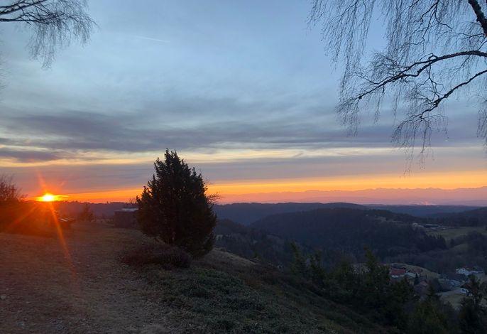 Sonnenaufgang auf dem nahegelegenen Kreuzfelsen