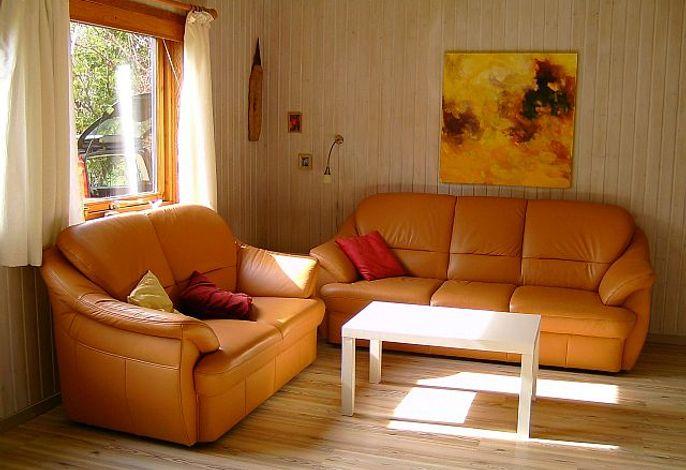 Schönes modernes Wohnzimmer mit Ledersofa
