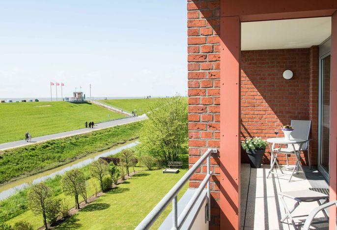 Seewärts wohnen Wohnung 2.1 Blick vom Doppelbalkon aus dem Wohn- und Schlafzimmer