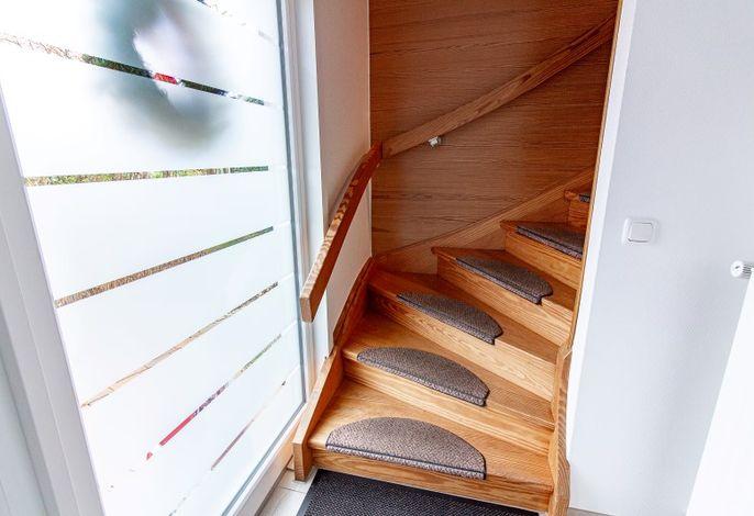 Treppenaufgang zu den Ferienwohnungen