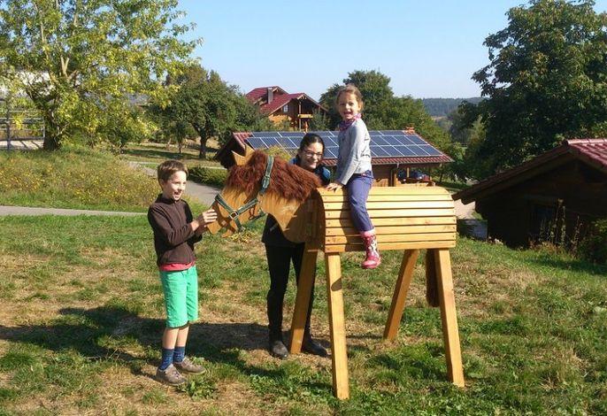 Spaß auf dem Holzpferd