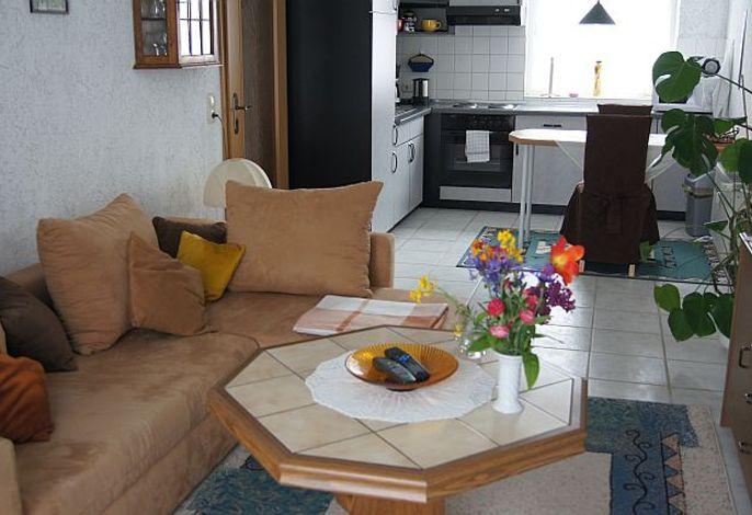 Offene Küche mit Blick auf das Wohnzimmer