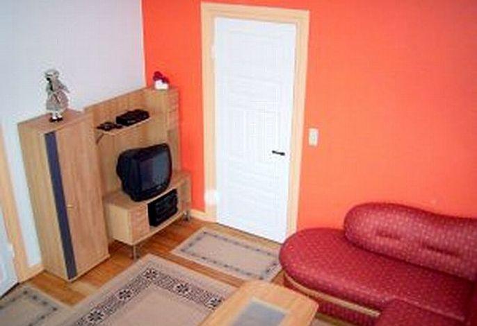 Gemütlicher Wohnraum mit Fernseher und Couch