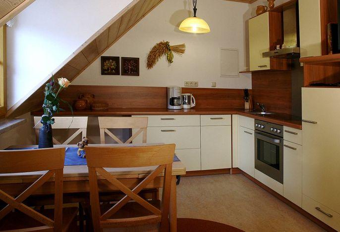 Wohnküche in der Ferienwohnung Bärenhöhle