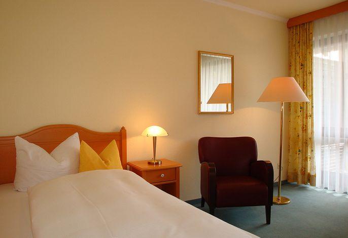 komfortables Einzelzimmer mit Bettbreite von 1,20 m