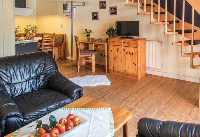 Fewo Ente auf dem Reiterhof: Wohnraum mit Küche