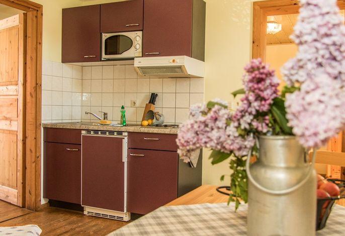 Fewo Storch auf dem Reiterhof: Wohnbereich mit Küche