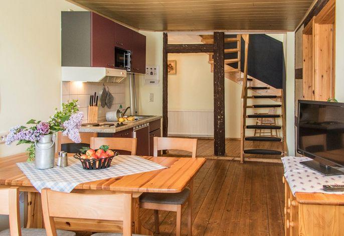 Fewo Kuh auf dem Reiterhof: Wohnraum mit Küche