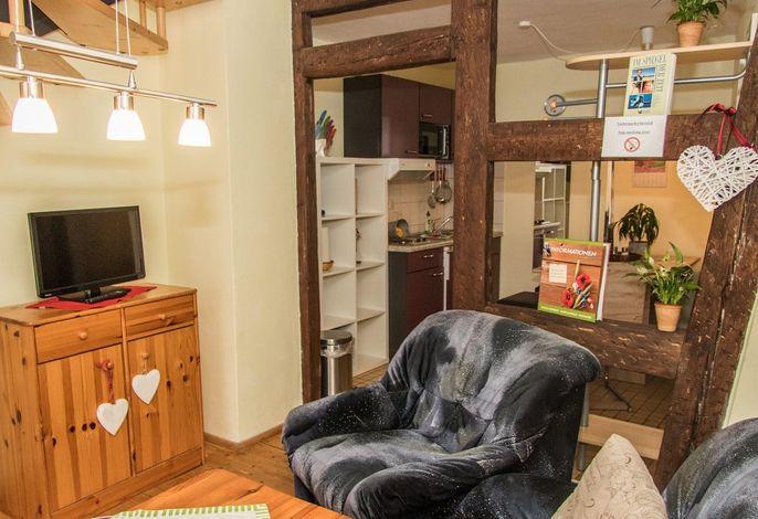 Fewo Ziege auf dem Reiterhof: Wohnbereich mit Küche