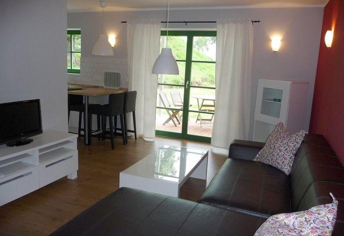 Fewo Langschläfer: Wohnraum mit offener Küche