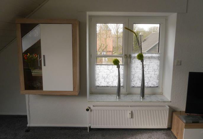 Der Blick aus dem Wohnzimmerfenster Richtung Burgturm