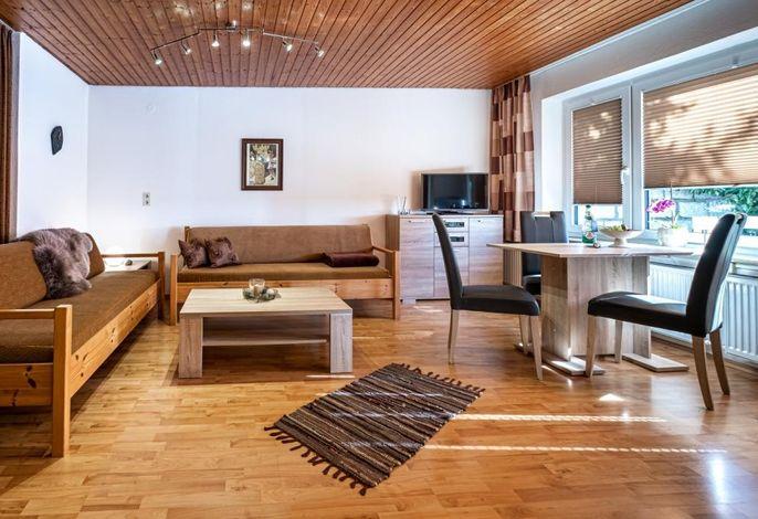 Ferienwohnung Wiesenblick, Wohnen, LED-TV