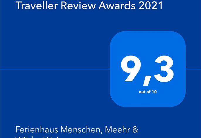 Traveller Review Award 2021-Danke an unsere Urlauber