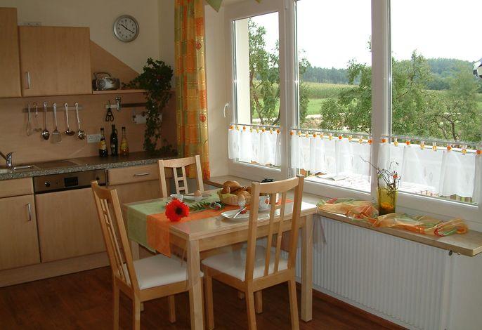 Whg Mohnblume, Wohnküche mit Zugang auf Balkon