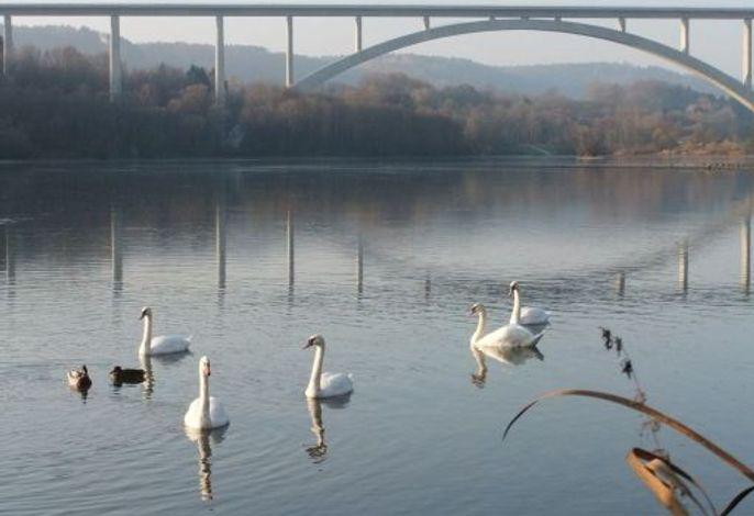 Froschgrundsee mit höchster Eisenbahnrundbogenbrücke Europas
