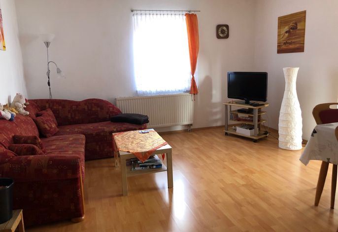 das Wohnzimmer mit ausziehbarer Couch
