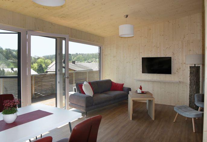 Offen gestalteter Wohn-Essbereich mit Sofa und TV