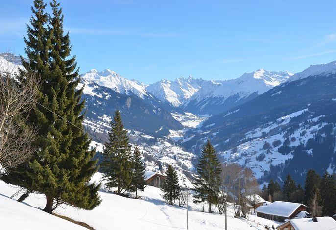 Larix Winter Blick von der Panoramaterrasse