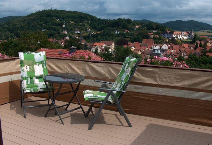 Herrlicher Rundblick von der Dachterrasse der Fewo über die hübsche Stadt Schmalkalden mit Schloß Wilhelmsburg