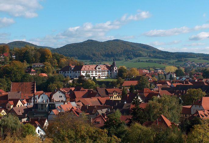 Fantastischer Blick auf die Wilhelmsburg von Schmalkalden - fotografiert von der Dachterrasse