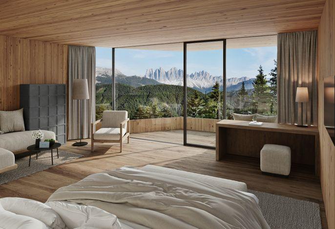 Das FORESTIS liegt in Alleinlage auf 1.800 m Meereshöhe am Südhang des Plosebergs, umgeben von dichten Wäldern.